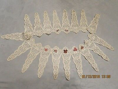 "- Antique French German Doll Dressing 18 Petal Cotton Antique Lace   31"" Lg  A20"