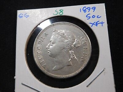 S8 British Straits Settlements 1899 50 Cents XF+