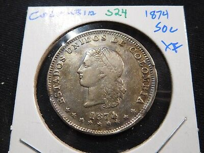 S24 Colombia 1874 50 Centavos XF