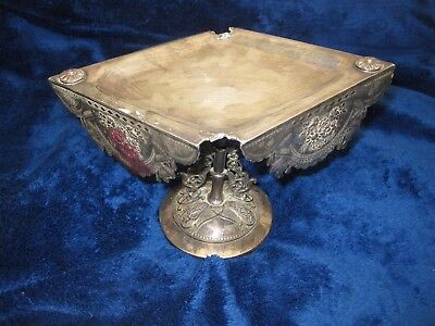"8.5"" Silver Plated Ornate Candy Dish Decorative Antique"