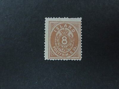 Iceland 1873 8 Skilling brown MNG Mint No Gum scarce