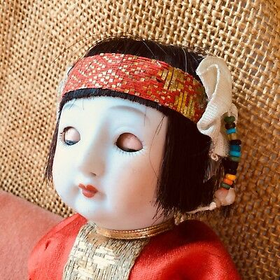 Vintage Chinese China Baby Doll Bisque Composition Sleep Eyes Silk Clothes Asian