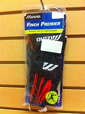 Mizuno Finch Premier Batting Gloves Women's Adult Large Red/Black MAKE OFFERS