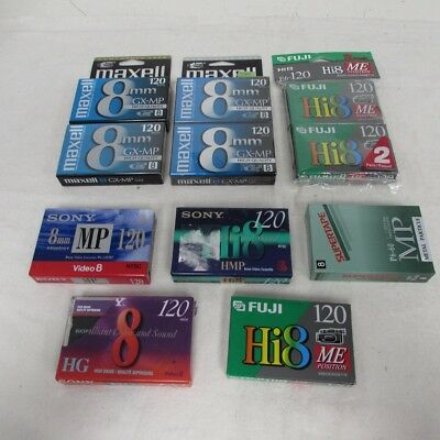 New Sealed Blank 8mm Hi8 Video Cassette Tapes Lot of 11x 120 Minutes