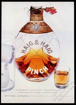 1955 Haig & Haig Pinch Scotch Whisky bottle shot glass photo vintage print ad