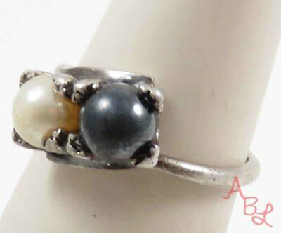 Sterling Silver Vintage 925 Cocktail Mother Of Pearl & Mabe Ring Sz 6.5 (4.2g)
