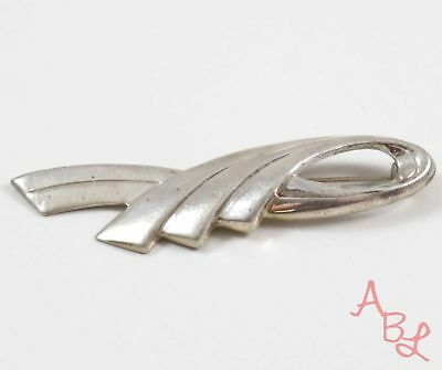 Sterling Silver Vintage 925 Ribbon Bow Brooch (5.1g) - 728164