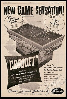 1958 Chicago Coin Croquet coin-op arcade game machine photo vintage print ad