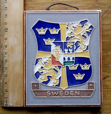 "Vintage Delft Cloisinnet Westraven, ""Sweden's Coat Of Arm"" Good Cond. Some Wear"