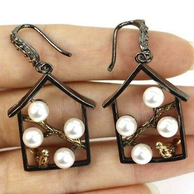 Vintage White Pearl With Song Bird Woman's BlackGold Silver Earrings