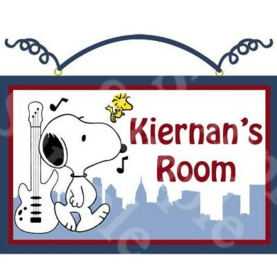 "Personalized ""Hip Hop Snoopy"" Canvas on Wood Sign Kids Baby Plaque Wall Art"
