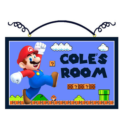 "Personalized ""Luigi or Mario Brother Character"" Canvas on Wood Sign Kids"