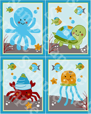 "A set of 4 ""Ocean Dreams Sea Life"" 8x10 inch Nursery Art Prints"