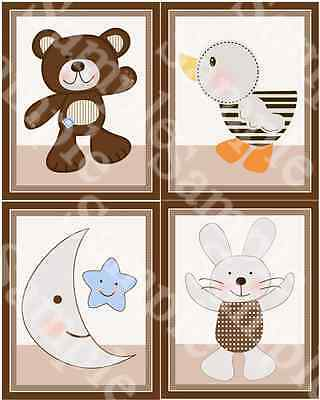 "Set of 4 Unframed ""B is for Bear""  8x10 inch Nursery Art Prints"