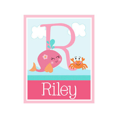 Personalized Under the Sea Pink Whale  8x10 Nursery Baby Art Print So Cute!
