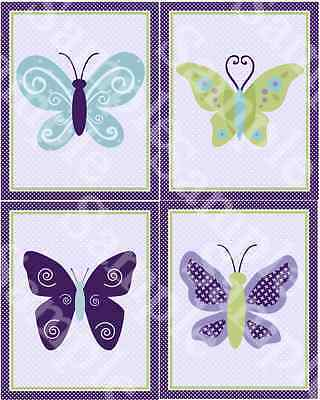 "Set of 4 Unframed ""Beautiful Butterfly/Purple/Lavender"" 8x10 Nursery Art Prints"