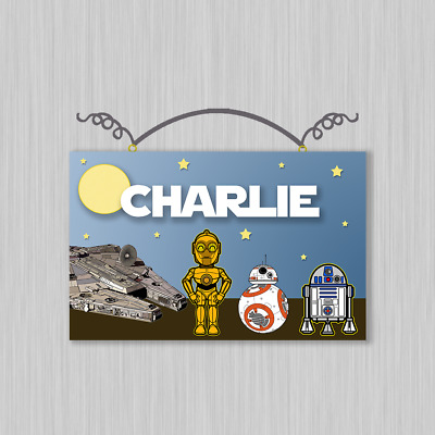"Personalized ""Star Wars"" Canvas on Wood Sign Kids"