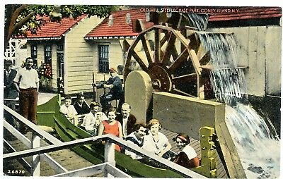 Coney Island Brooklyn NYC NY -OLD MILL RIDE AT STEEPLECHASE PARK- Postcard