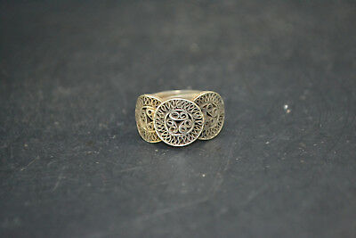 Vintage chinese Collectible handwork Old Tibet Silver circle adjust man Ring