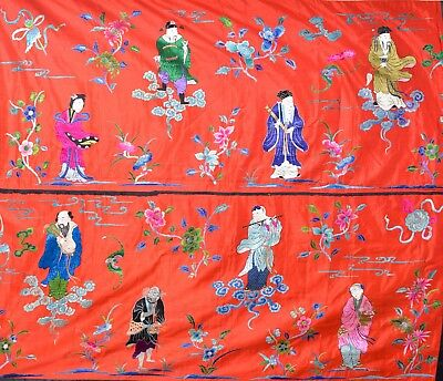 Huge Antique Chinese 8 Immortals Silk Embroidery Tapestry -- Fabulous !!