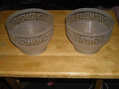 2 vintage antique frosted glass gas light shades