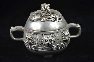 chinese Collectible Vintage Tibet Silver carve dragon old big Incense Burner