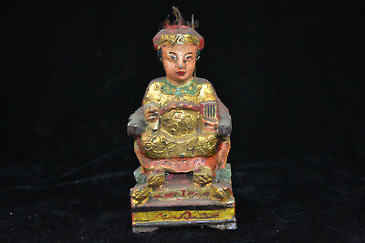 Collectible Chinese Old wood handwork carve god of wealth amulet wealthy Statue