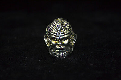 Collectible handwork Vintage chinese Old Tibet Silver monkey king rare man Ring