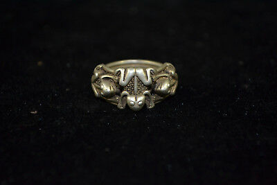 chinese Collectible Vintage handwork Old Tibet Silver lovely frog woman Ring
