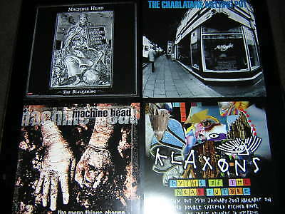 "4 Promotional 12""x12"" Cards - Machine Head-Charlatans-Klaxons"