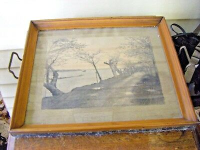 Antique Serving Tray with Japan Print 1910