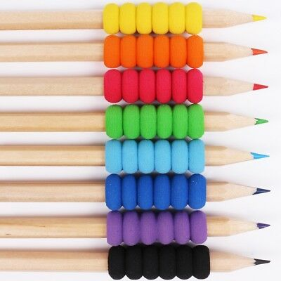 8x SOFT GRIP ASSORTED COLOURING PENCILS Adult//Children School Drawing//Sketching