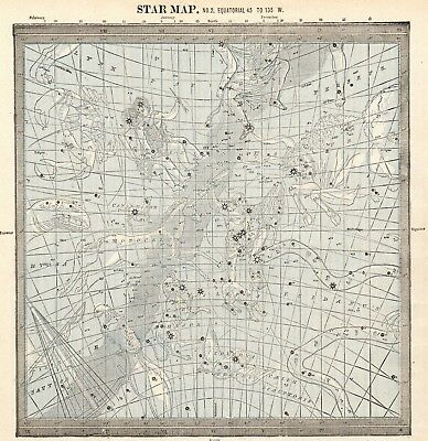 1888 Antique Star Constellation Map Vintage Astronomy Astrology Map 5277a