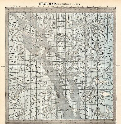 1888 Antique Constellation Map Star Chart Vintage Astronomy Zodiac Print 5278b