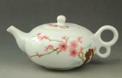 Chinese old Hand painted plum blossom patterns white glaze porcelain teapot b02
