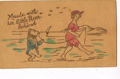 """ANTIQUE LEATHER Postcard        """"MAUDE WITH HER LITTLE BEAR BEHIND"""""""