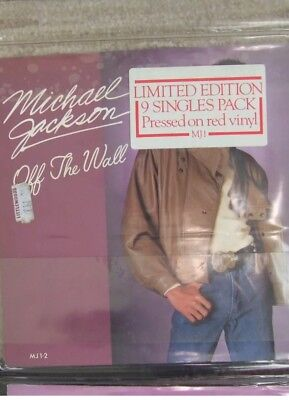 """Michael Jackson Limited Edition 9 x 7"""" Singles Pack On Red Vinyl. Off The Wall"""