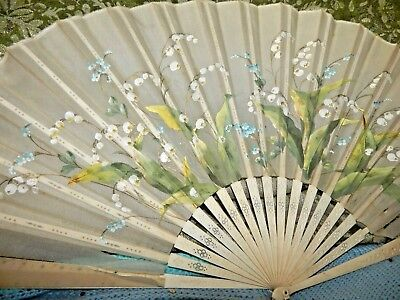 VERY LARGE Bovine BONE ANTIQUE HAND PAINTED REAL SILK French FAN Signed 13.5''