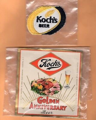VINTAGE KOCH'S BEER PATCH and GOLDEN ANNIVERSARY BOTTLE LABEL *Dunkirk, NY