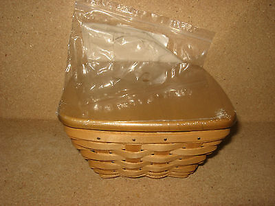 Longaberger Warm Brown Small Flare Basket, protector, lid & Flax Tan Liner MINT!