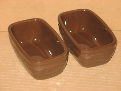 Longaberger Chocolate Brown Pottery Dash Prep Bowls TWO mint never used in box!