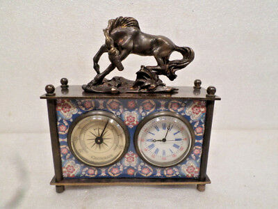 French Style Designed Panel Carriage Clock With Horse Statue