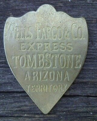 Wells Fargo & Co Brass Tag Tombstone Arizona Terr. Strong Box, Gold Chest, Ammo