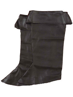 Child's Black Simulated Leather Pirate Costume Boot Tops