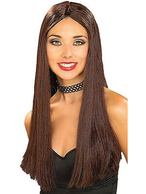 ADULT WOMENS COSTUME Long Brown Straight Vampire or Hippie Wig ... ed98ed190e
