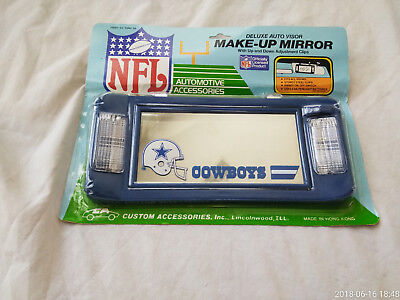 Wow~New~One Of A Kind Vintage Nfl Cowboys Deluxe Auto Visor Make Up Mirror~
