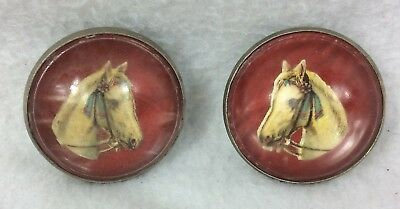 Vintage Bridle Rosettes Buttons Dome Red Horses Head Brass Western Vtg Pair