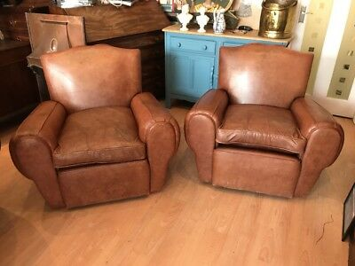 Pair Of Vintage French Brown Leather Moustache Club Chair Art Deco Free Uk P&p