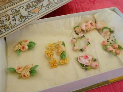 An Exquisite Collection Of Antique Silk Ribbon Work Roses
