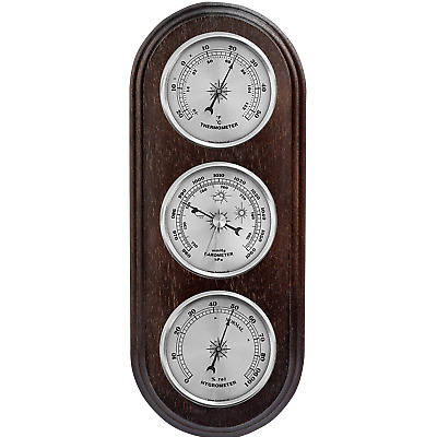 Weather Station Barometer Thermometer Hygrometer Silver Coloured Dials New Boxed